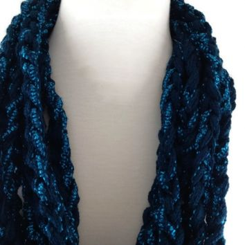 Infinity Scarf Rich Teal Shimmer Extra Long Ladies Finger Crocheted