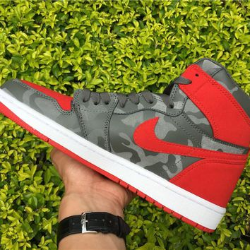 "[Free Shipping ]Air Jordan 1""CAMO PACK"" Red   Basketball Sneaker"