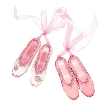Acrylic Pink Ballet Shoes Christmas Tree Ornaments, 3-Inch, 2-Piece