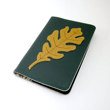 Vinyl Moleskine Cover, Oak Leaf Design, deep green matte and gold dust sparkle / gold toile oilcloth, fits POCKET CAHIER JOURNAL