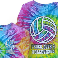 Peace Love and Volleyball Tie Dye T-Shirt