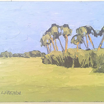 Impressionist Landscape Painting FLORIDA Plein Air SAVANNAH 8x10 Palm Trees Meadow Lynne French FREE Shipping