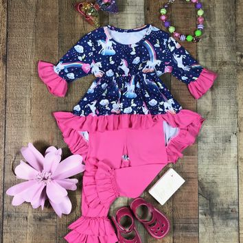 BLOW OUT! RTS Navy Pink High-Low Unicorn Dream Set (D28)