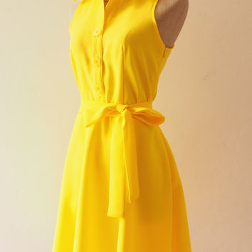 DOWNTOWN - Yellow Shirt Dress, Yellow Bridesmaid Dress, Yellow Casual Dress, 1950 Inspired Dress, Vintage Style Party Dress, XS-XL,Custom