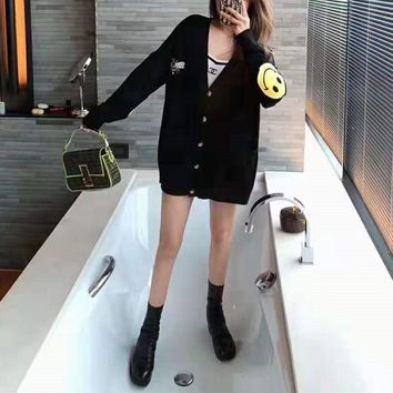 Women Fashion Smiling Face V-Neck Small Bee Long Sleeve Sweater Knit Cardigan Buttons Short Coat