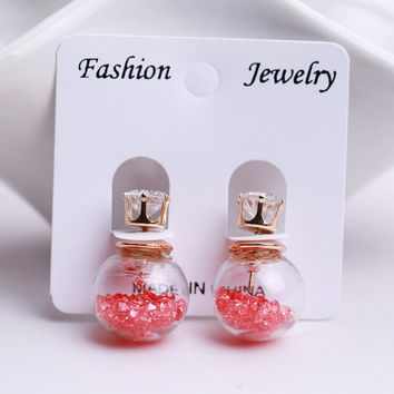 2015 Hot Fashion brand Jewelry Double Sided Glass Stud Earring  For Women Crystal Ball Zircon Female Piercing Statement Earring