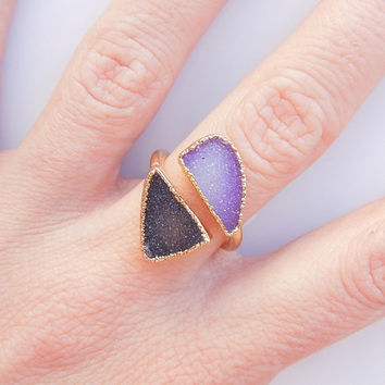 Druzy Geode Ring - Purple and Chocolate Black - OOAK Jewelry
