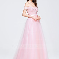 [ 138.99] A-Line/Princess Off-the-Shoulder Sweep Train Tulle Prom Dress With Beading Appliques Lace Sequins (018075872)