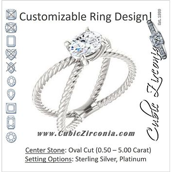 "Cubic Zirconia Engagement Ring- The Zaylee (Customizable Oval Cut Solitaire with Wide Rope-Braiding ""X"" Split Band)"