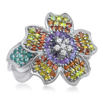 875 Silver Ring with Pink Sapphire, Orange Sapphire, Green Sapphire, Yellow Sapphire, Purple Sapphire