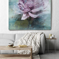 """Purple Majesty. Rustic Floral Painting, Green Turquoise Pink Lavender Rustic Large Floral Canvas Art Print up to 48"""" by Irena Orlov"""