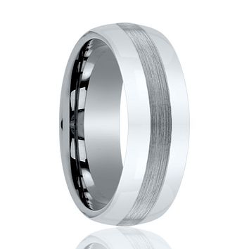 Aydins Men and Womens Tungsten Carbide Wedding Band Brushed & Polished 6mm, 8mm