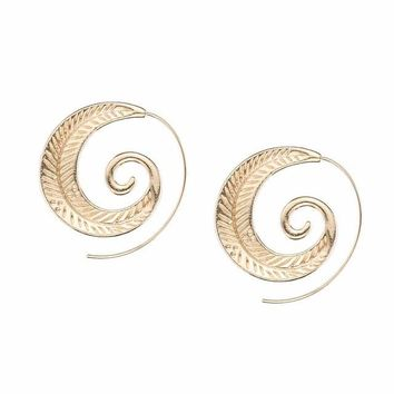 Punk Personality Round Spiral Earrings Exaggerated Circle Leaf Whirlpool Gear Earrings for Women Jewelry