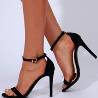 Barely There Ankle Strap Heel Black
