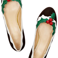 Charlotte Olympia|Holly suede and patent-leather flats |NET-A-PORTER.COM