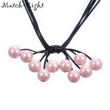 Match-Right Women Rope Chain Necklace Statement Necklaces & Pendants Imitation Pearls Necklace For Women Jewelry Accessory SP045