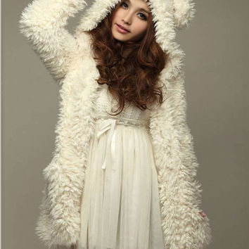 White Teddy Bear Ear Hooded Midi Loose Plush Coat