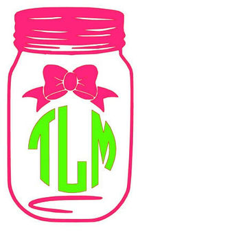 Monogram and Bow Mason Jar Decal