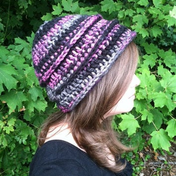 Pink and Black Ribbed Crochet Beanie - Black Cherry Cola Hat