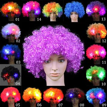 Fancy LED Light Curly Hair Wigs Halloween Costume Party Supplies New Cosplay Unisex Clown Mask Funny Toy BM88