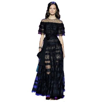 High Quality New Fashion 2016 Runway Maxi Dress Women's Batwing Sleeve Black Lace Party Long Dress Plus Size S Xxl