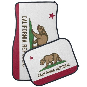 Patriotic set of car mats with Flag of California