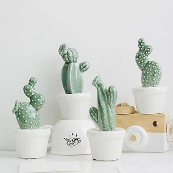 4 Sets Creative Cactus Ornaments Study Living Room Table Crafts Home Office Decor