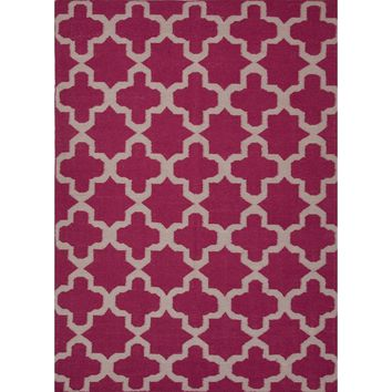 Maroc Coll. Flat-Weave Moroccan Pattern Wool Pink/Ivory Aster Area Rug (3.6 x 5.6)