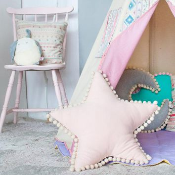 Cushion Clouds/stars/moon Shape Pillow Children Room Decoration Canopy with Photography Props