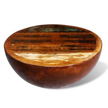 Bowl Shaped Coffee Table Solid Reclaimed Wood with Steel Base
