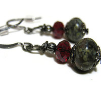 Red and Mossy Green Swirl Earrings Gunmetal Grey Czech Glass Beaded Retro Style Womens Accessories Drop Dangle