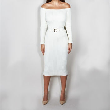 White Long Sleeve Off-Shoulder Midi Dress