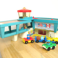 Vintage Fisher Price Airport Building and Accessories