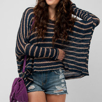 Scoopneck Stripe Sweater in Navy :: tobi