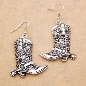 Western Wild West Silver Cowgirl Boots Spur Rodeo Earrings Oorbellen Brinco Fancy Dress Costume Steampunk Jewelry Dropshipping