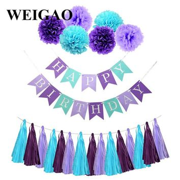 WEIGAO Happy Birthday Bunting Banner Paper Tassels Pompoms Garlands For Mermaid Theme Birthday Party Decor Baby Shower Supplies