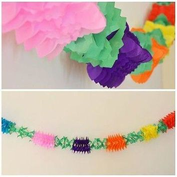 Fancy Flower Multicolor Rainbow Paper Garland 12 Ft long 3D