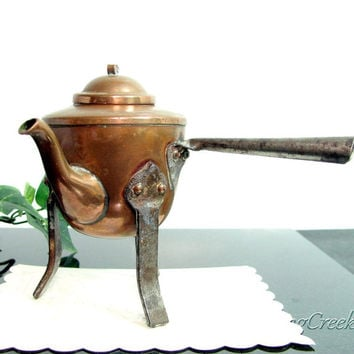 Vintage COPPER GOOSE NECK Chocolate Pot Tea Kettle Miniature Doll House