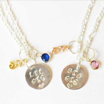 Big sis lil sis necklace.Initial necklace.Monogram necklace.Personalized necklace.Custom necklace.Birthstone necklace.Sisters necklace