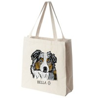 Australian Shepherd Color Portrait Design Large Eco Friendly Reusable Cotton Canvas Tote Bag
