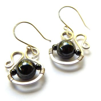 Saturn Handmade earrings with gemstones. Hematite with sterling silver orgaic shaped earrings
