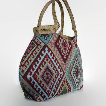 Trendy handbag, bohemian style shoulder bag, large handbag, tapestry bag, upholstery fabric, vintage look and feel. Trendy tote bag,