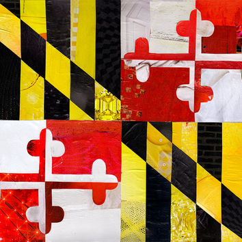 Maryland flag, Maryland art, Baltimore, Mixed Media collage art, Maryland art print, Ocean City MD, Giclee print, Living room decor