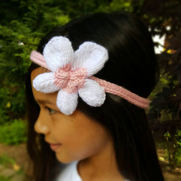 Summer Special Buy 1 Get 1 Free 7 Different Colors Child / Adult  Hand Knit  PLUMERIA / FLOWER I-Cord Headband