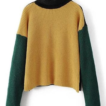 Yellow High Neck Thicken Long Sleeves Jumpers