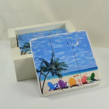 Wood Coaster Florida Kitsch Beach Home Decor Seaside Cottage Ocean Scene Palm Trees Colorful Beach Chairs White Wood Holder