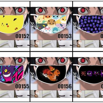 Game Pocket Monster Pokemon Pikachu Eevee Gengar Charmander Face Mask Camouflage Mouth-muffle Mask Cosplay Costume Prop Gift