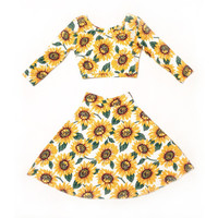 Sunflower Two Piece Skater Skirt and Crop Top