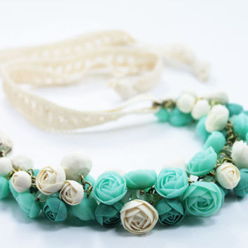 Pastel Pink Flower Necklace, Wedding Necklace, Jewelry handmade, minty, turquoise, white