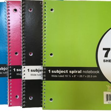 70 SHEET - Spiral Bound 1 NOTEBOOK WIDE RULED Case Pack 24